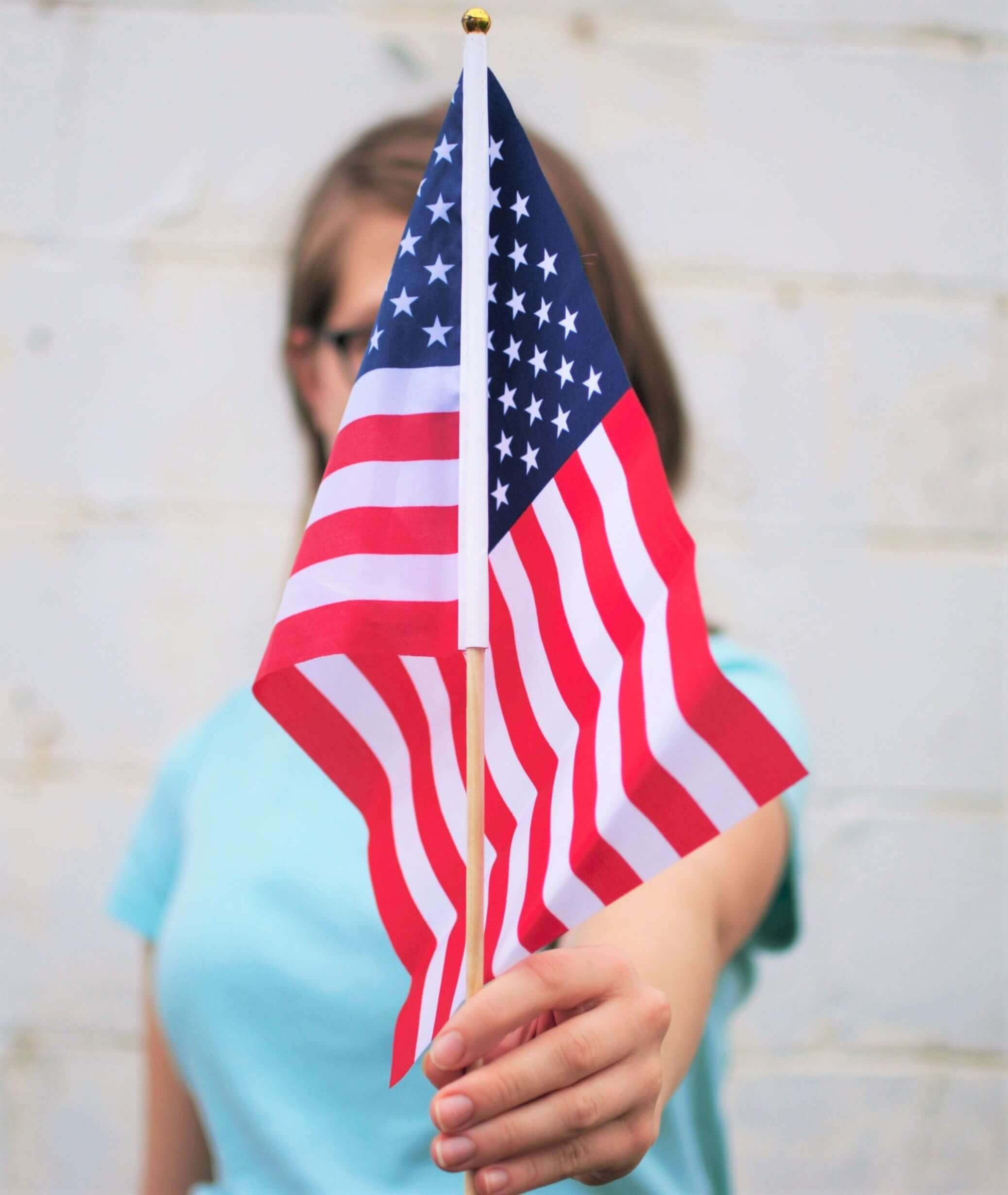 Woman Holding Flag